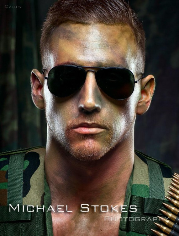 man with army uniform and sunglasses