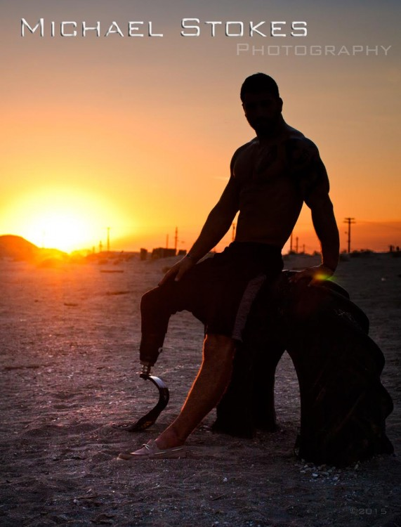 silhouette of man with prosthetic leg