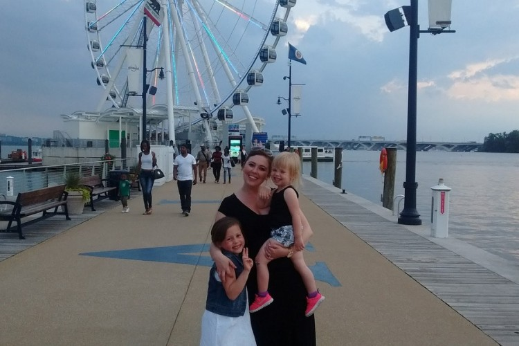 author with her two children at the boardwalk