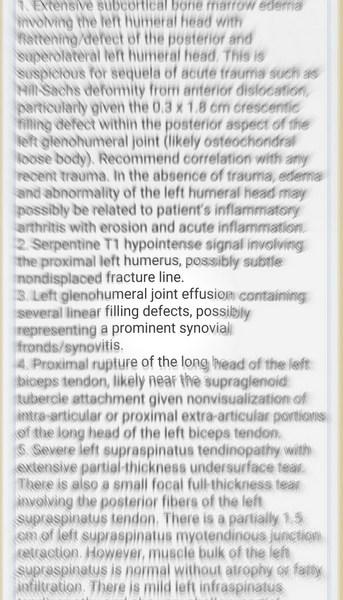 Blurry medical summary.