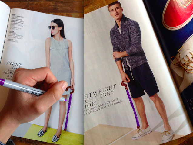 canes drawn in on J.Crew catalog