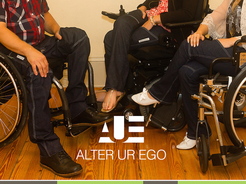 ad for Alter Ur Ego jeans featuring three people in wheelchairs wearing the jeans