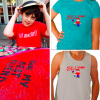 A collage of people modeling Paper Clouds Apparell t-shirts and tanks