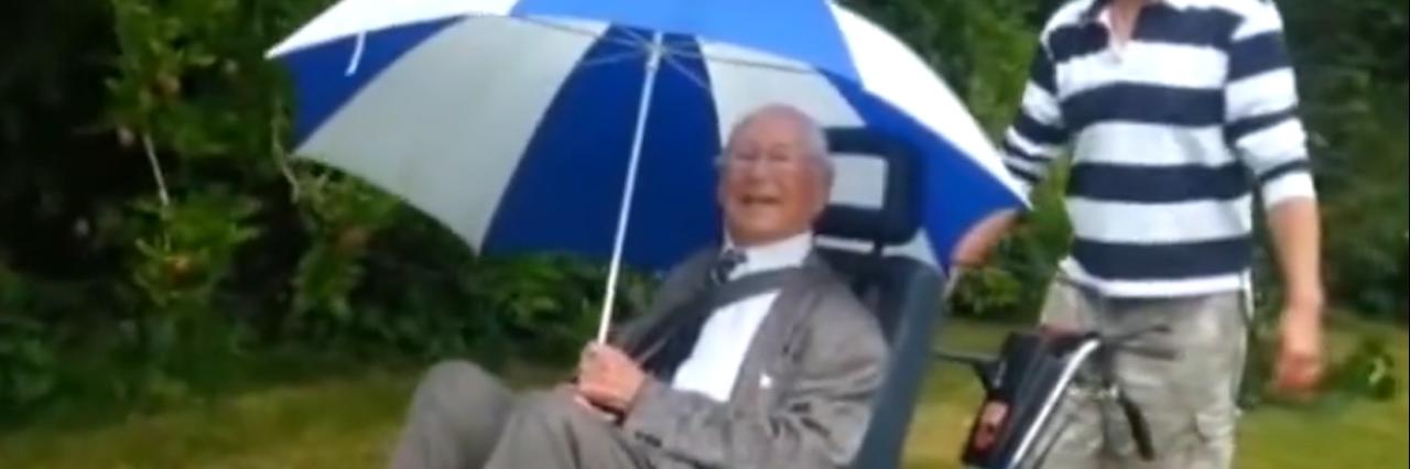 man in wheelchair designed like a tank