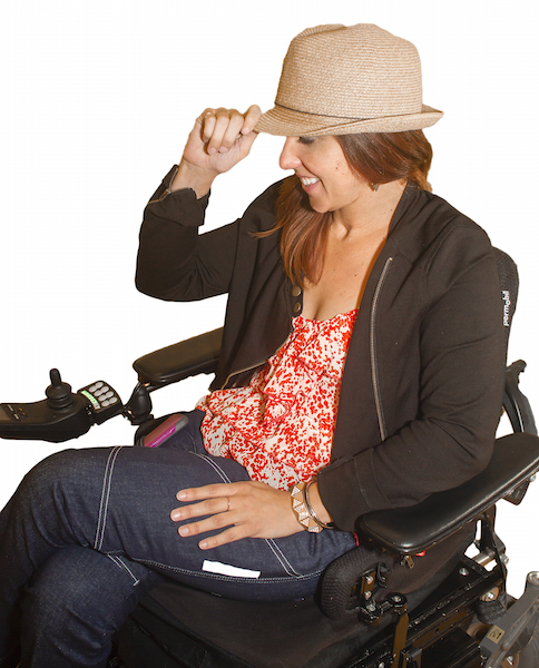 woman in a wheelchair wearing the jeans