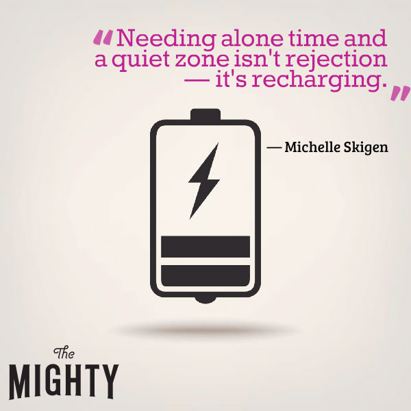 "A quote by Michelle Skigen that says, ""Needing alone time and a quiet zone isn't rejection — it's recharging."""