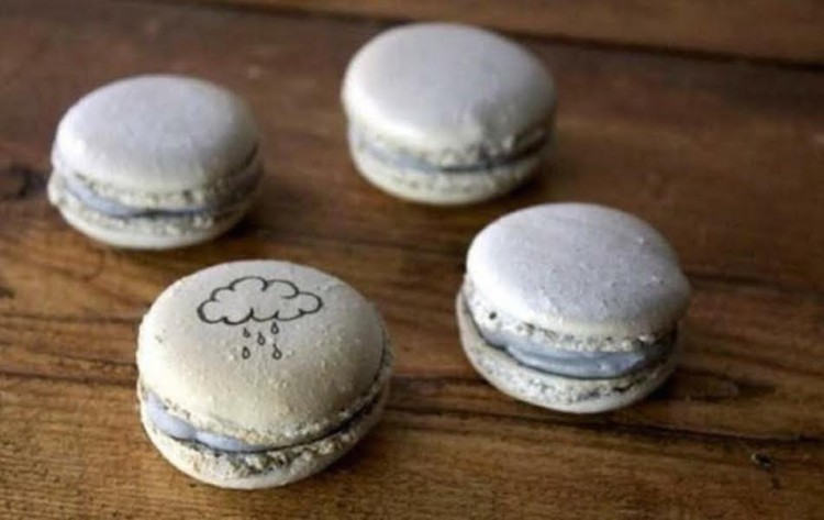 gray macaroons with rainclouds