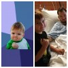 A collage; On the left: A meme of a small boy making a fist; On the right: A small boy standing nect to his father in a hospital bed, both of them making a fist