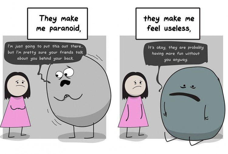 Depression and anxiety talk to the girl. Text says: They make me paranoid, they make me feel useless.