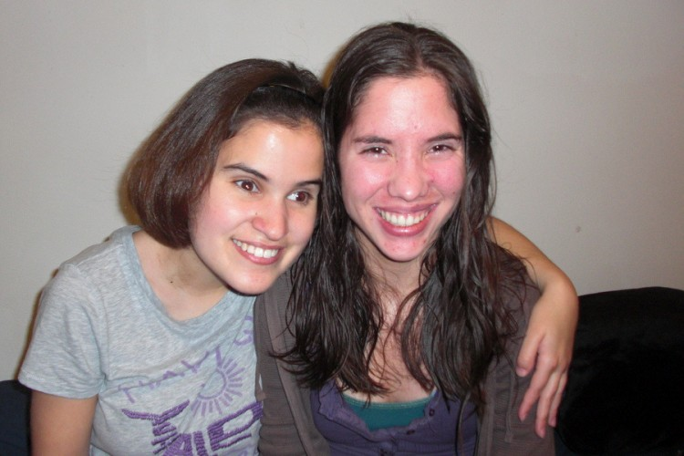 Caitlin Hernandez, left, with her college housemate, Lizzie.
