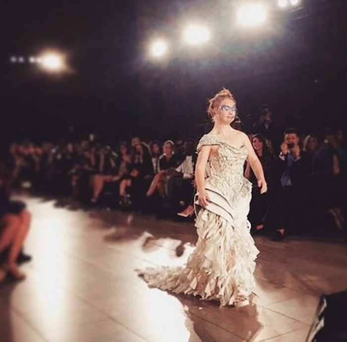 Madeline Stuart walks 2015 NYFW runway