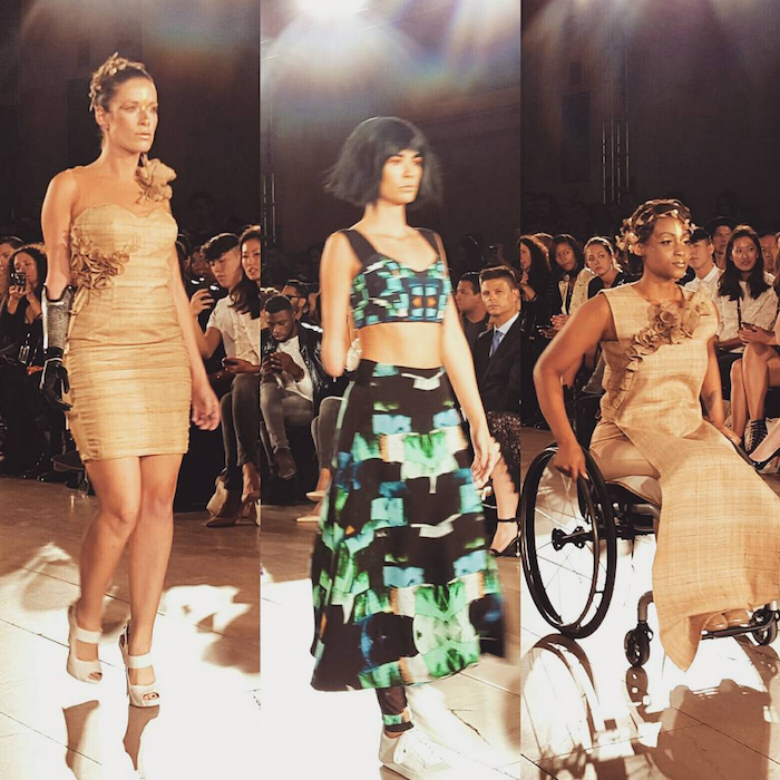 Photo of three models with disabilities on the runway at FTL Moda 2015 NYFW show
