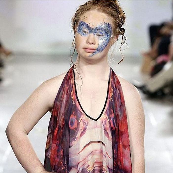 Madeline Stuart walking the 2015 NYFW runway