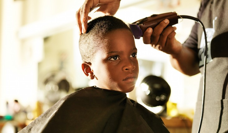 getting a haircut with barber
