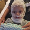 A small boy in the hospital
