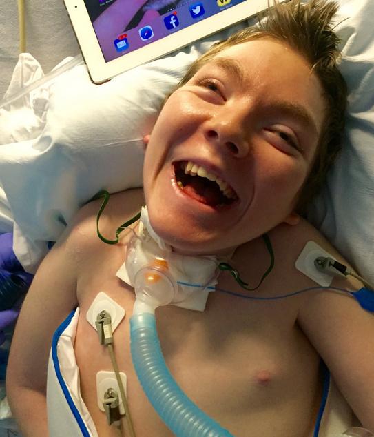 Lori's son, at the hospital.