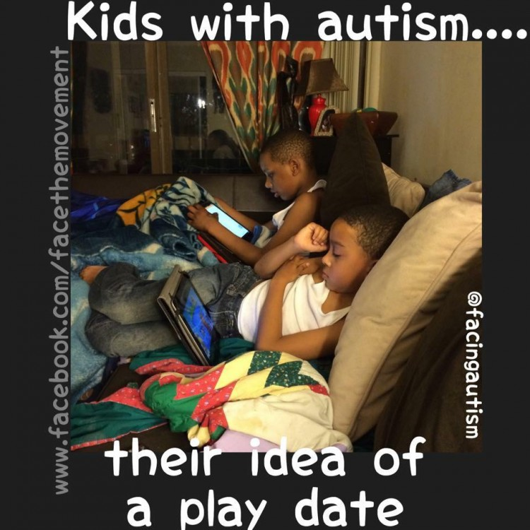 kids with autism... their idea of a play date