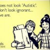 Meme with illustration of two children smiling. Text reads, My child does not look 'Autistic'. And you don't look ignorant... Yet here we are.