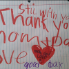 handwritten note from young boy to his parents