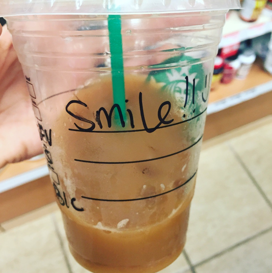 coffee cup that says smile!!