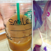 Collage of a clear, Starbucks cup with the word 'Smile' written on it beside a photo of a girl with a feeding tube smiling