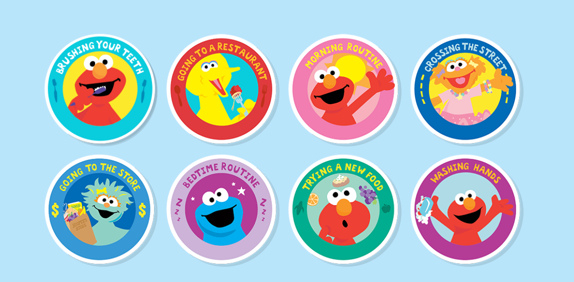Sesame Street's daily routine cards featuring Sesame Street characters