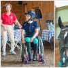 On the left: A young woman in her horse riding gear seated in a wheelchair; On the right: A young woman riding a horse