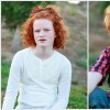 A collage of two photos. On the left: A girl with curly hair in a long-sleeved white shirt sitting outside and looking into the camera. On the right: A small red-headed boy in a plaid print shirt sitting outside and smiling for the camera
