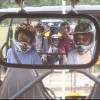 family off-roading in a dune buggy