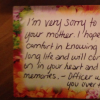 A card sent from a police officer to a woman whose mom was about to enter hospice care