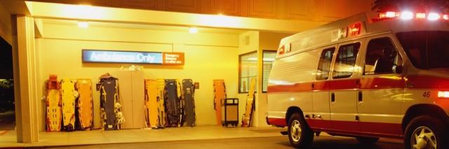 ambulance outside an emergency room