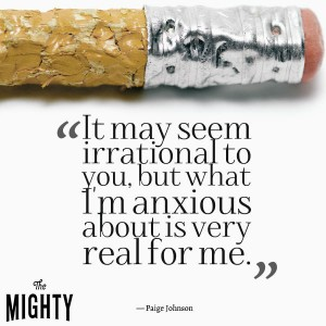 """End of a pencil with lots of bite marks on it. Text reads, """"It may seem irrational to you, but what I'm anxious about is very real to me."""""""