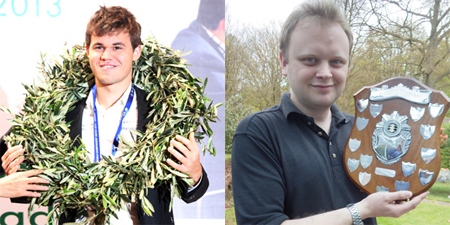 World chess champion Magnus Carlsen, left, and Magnus Carlsen