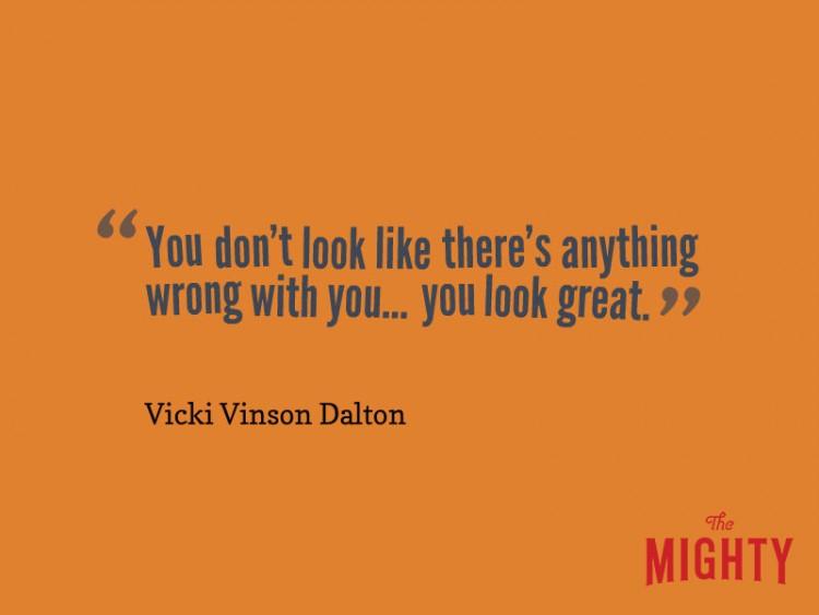 """Vicki Vinson Dalton dice 'no parece que haya nada malo en ti ... te ves muy bien. """""""