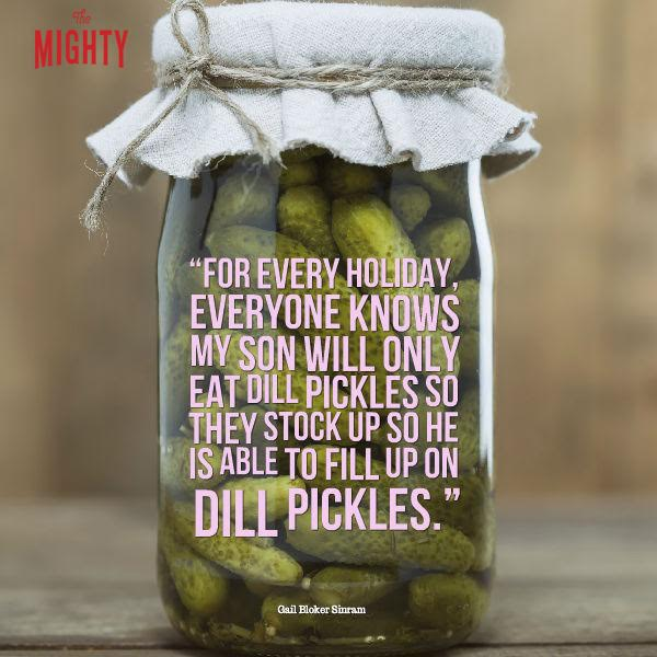 "Meme: ""For every holiday, everyone knows my son will only eat dill pickles so they stock up so he is able to fill up."""