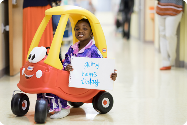 Just two days after surgery, Gabrielle's family cheered as she left the hospital in her sparkly pajamas.