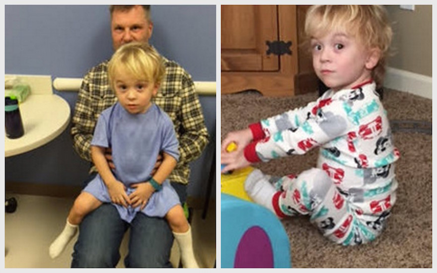 Two photos of Katie's son Von. In the photo on the left, he's at an appointment. In the photo on the right, he is sitting and playing.
