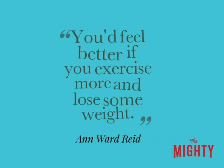 """Ann Ward Reid dice 'te sentirías mejor si hace más ejercicio y perder algo de peso. """""""