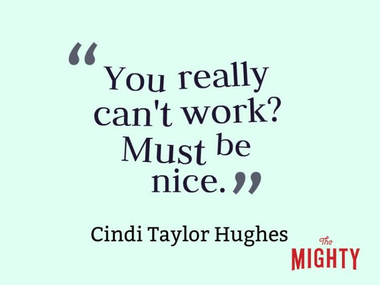 Cindi Taylor Hughes dice 'que realmente no puede trabajar? debe estar bien.'