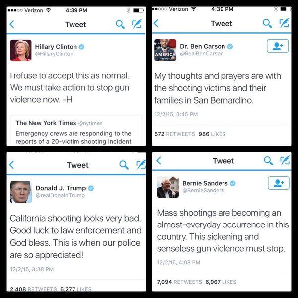 A collage of four tweets