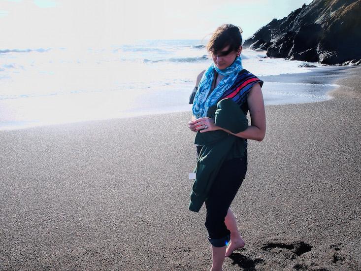 Karina walking on the beach