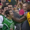 LeBron James and fan