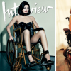 A collage of two photos. To the left, tv personality Kylie Jenner models in a wheelchair; To the right, a woman with cerebral palsy recreates the cover photo of Kylie Jenner in a wheelechair