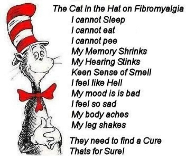 fibromyalgia meme: the cat in the hat on fibromyalgia