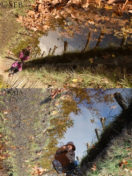 Two photos of a pond with the photographers reflected in it.