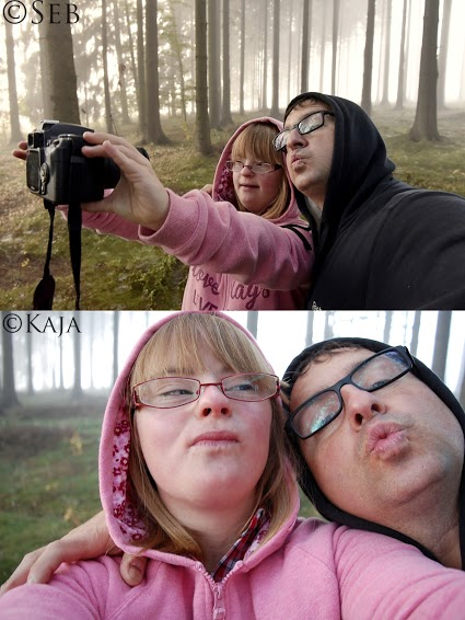 Selfies taken by father and daughter.