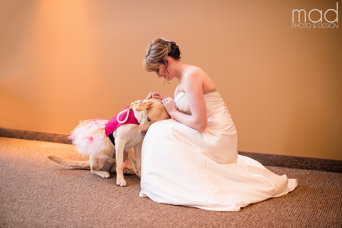 Bride beside her service dog.