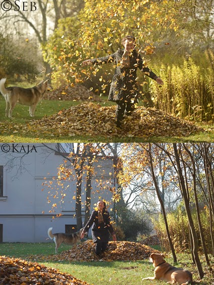 Two different pictures of a person playing in leaves.