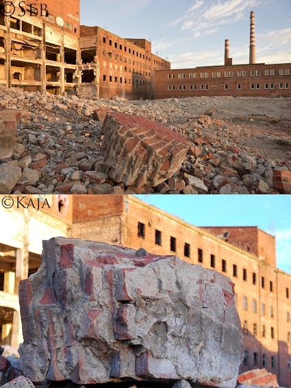 Bricks and rubble from two different angles.