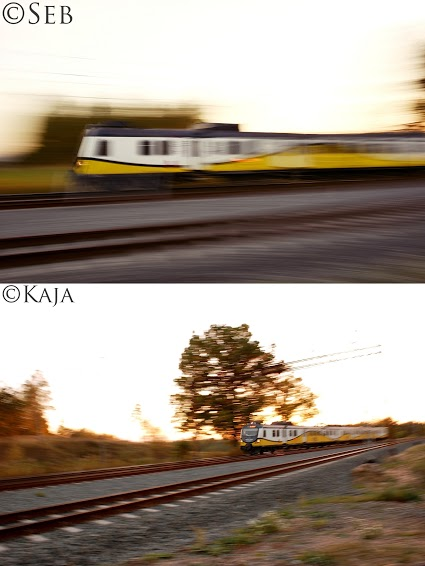 Photo of a train close up and then farther away.